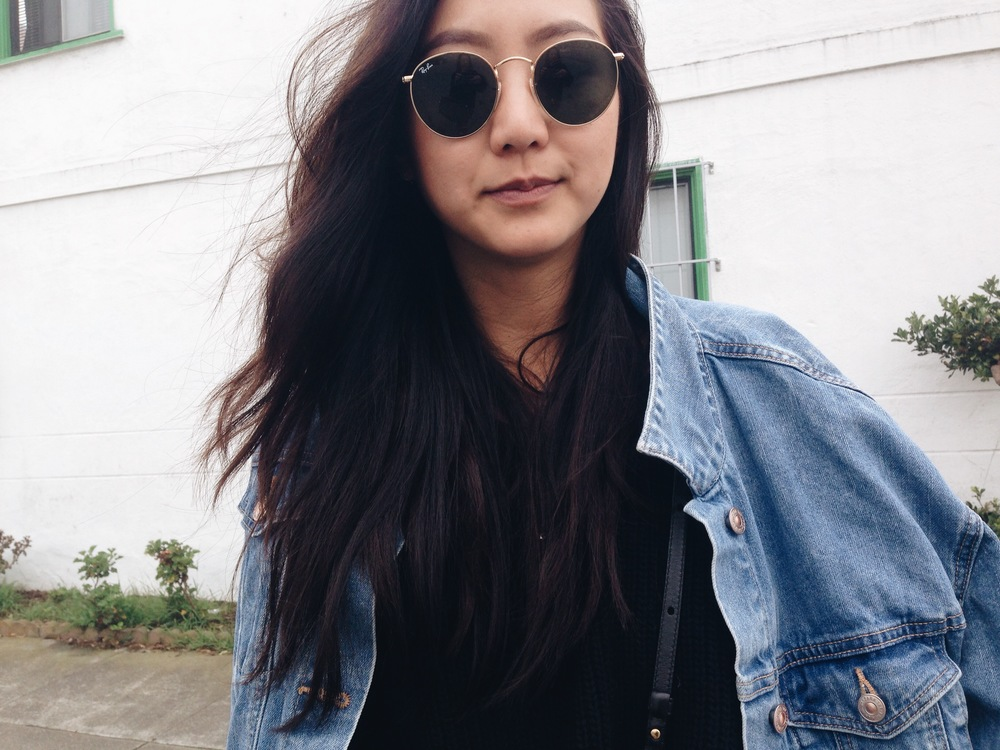 ZARA  slip dress /  RAY-BAN   retro-round sunglasses   / ZARA  oversize denim jacket /  TOPSHOP   knit
