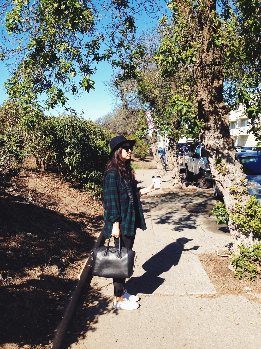 BAILEY FOR J.CREW    felt hat    / VINTAGE   flannel shirt (via  Painted Bird )   / KAREN WALKER    sunglasses    / GAP    jeggings    / SUPERGA    sneakers    / GIVENCHY    medium Antigona satchel