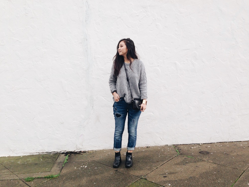 MADEWELL cable pullover knit / MADEWELL boyfriend jeans / CHELSEA BOOTS (via Beijing's Silk Market) / GIVENCHY Obsedia bag
