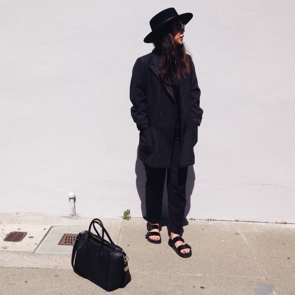 JANESSALEONE   Gabrielle  hat  / FREE PEOPLE   mock neck top     / ZARA  dress pants  / ZARA  sandals  / GIVENCHY   Antigona   satchel   / RAY-BAN   aviators
