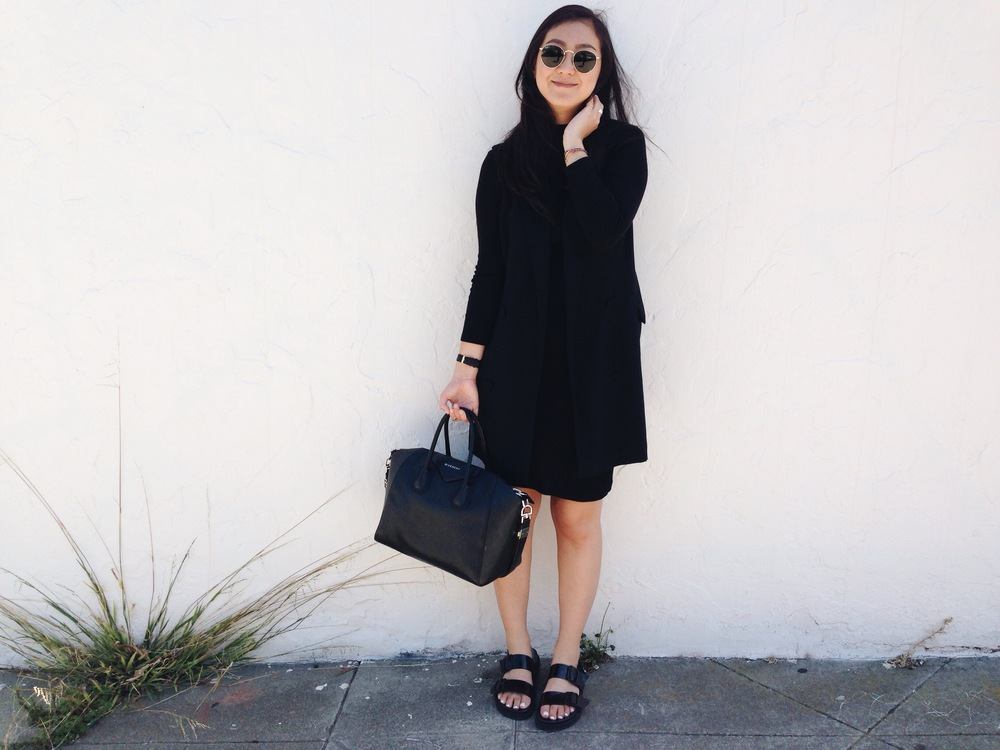 ALEXANDER WANG vest / ASOS rib turtleneck dress / ZARA sandals / GIVENCHY Antigona tote