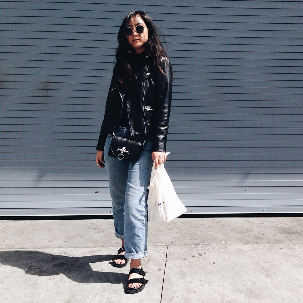 FREE PEOPLE    mock turtleneck     / MANGO   leather jacket   / LEVI'S   jeans   / ZARA  sandals  / GIVENCHY   Obsedia bag