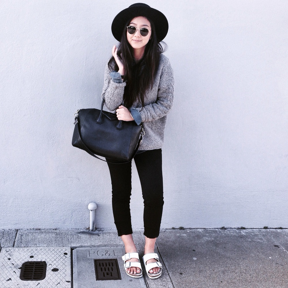 JANESSALEONE   Gabrielle hat   / MADEWELL   cable pullover knit   / ZARA  dress pants  / MADEWELL  denim shirt  /   BIRKENSTOCK    white Arizona sandals