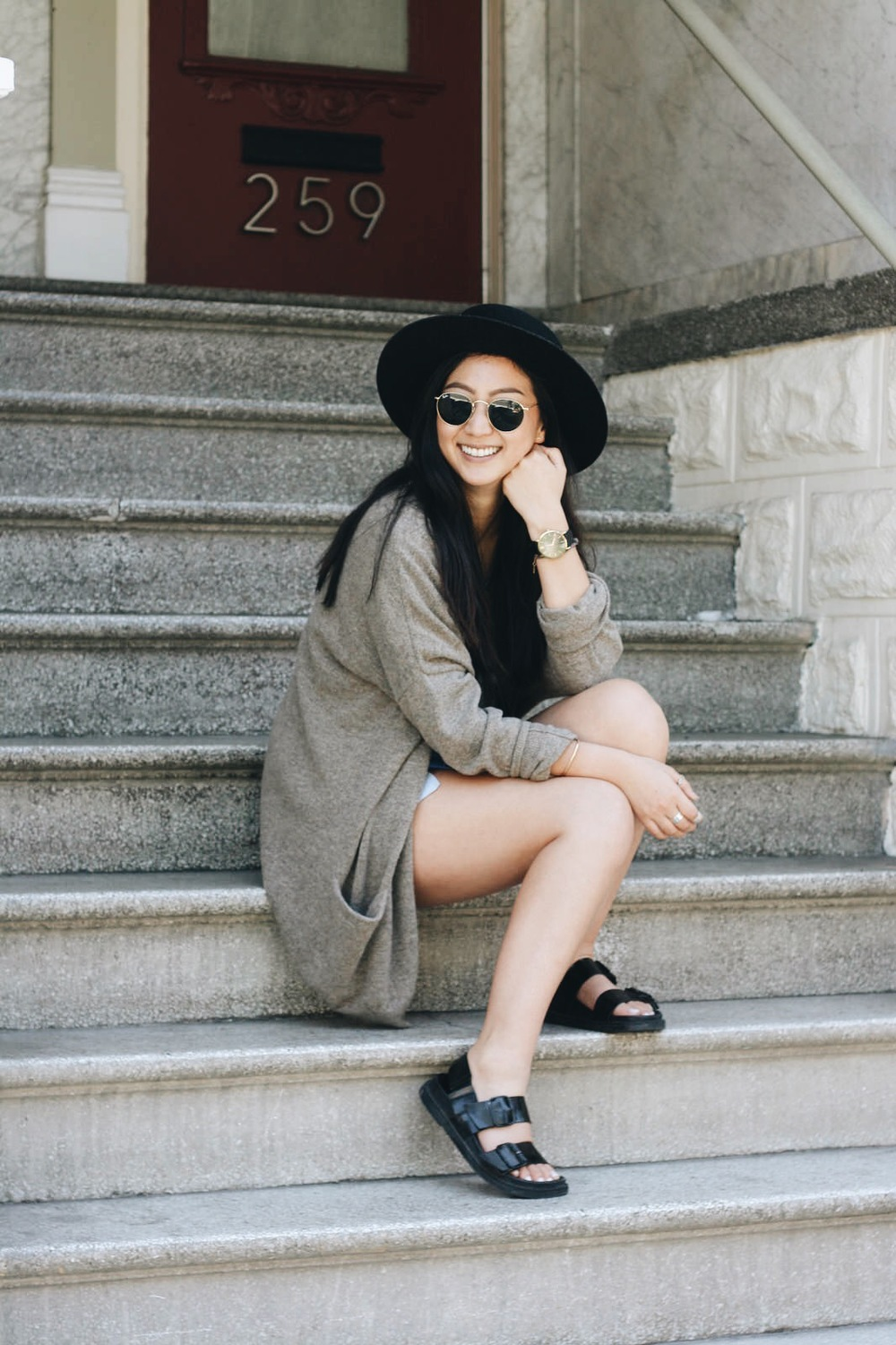 © photo credit:  workitberk.blogspot.com   T BY ALEXANDER WANG   shirt   / COS  cardigan  / REFORMATION   shorts   / JANESSA LEONE   Gabrielle hat   / GIVENCHY   Obsedia bag   / ZARA  sandals  / RAY-BAN   sunglasses   / ANOTHER FEATHER   bangle   / LARSSON & JENNINGS   watch