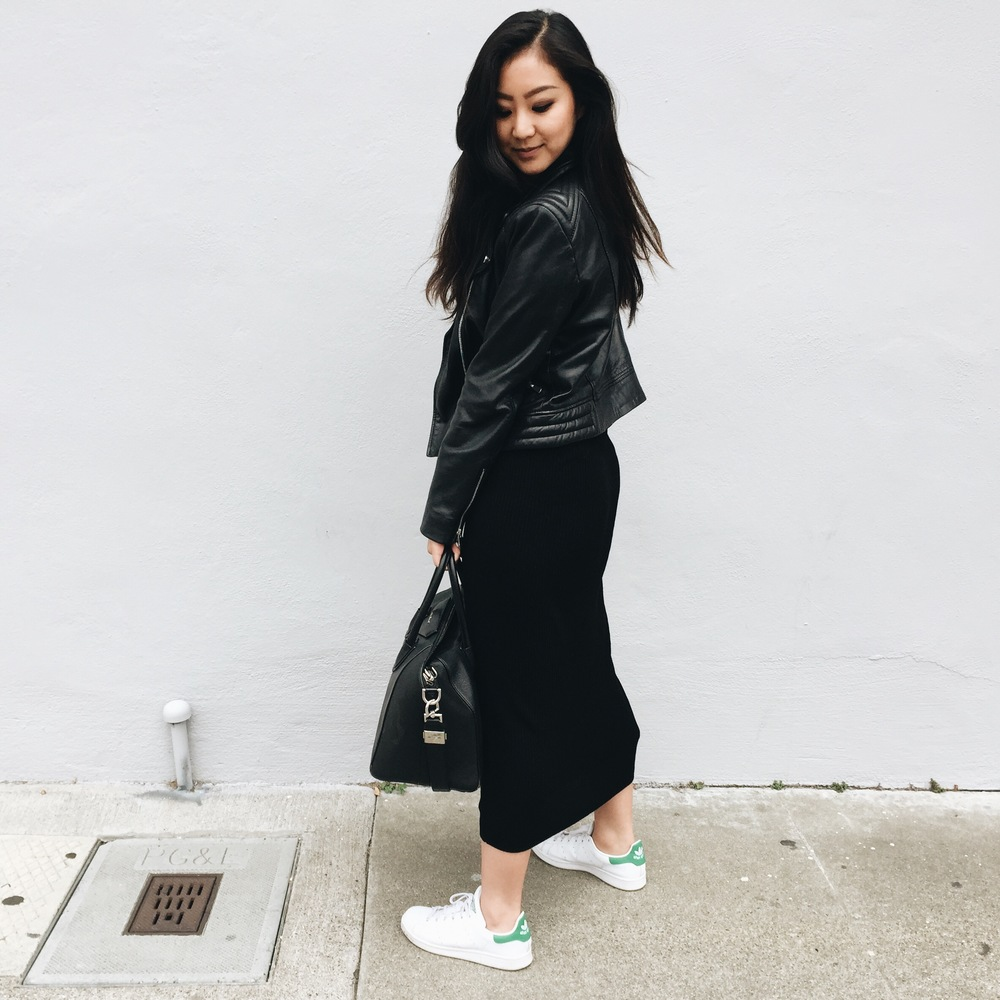 MANGO   ribbed maxi dress   / MANGO  leather jacket (similar  here ) /  ADIDAS   Stan Smith sneakers