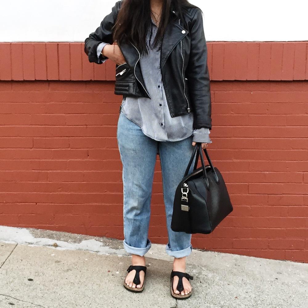 MANGO   leather jacket   / BIRKENSTOCK   Gizeh sandals   / LEVI'S   jeans  / ZARA  striped shirt  / H&M  beanie