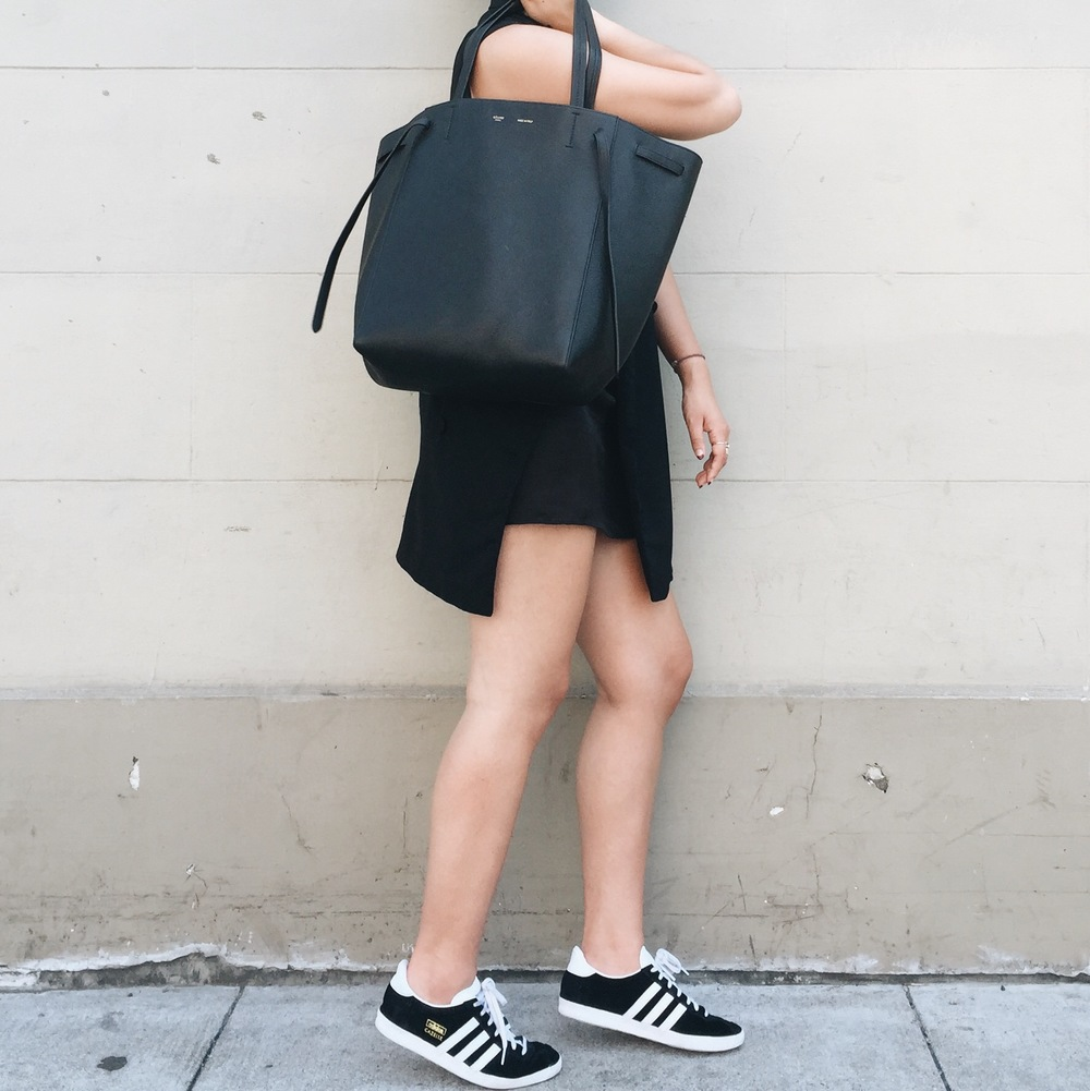 ALEXANDER WANG  vest (similar  here )  / ZARA  satin slip  / ADIDAS   Gazelle sneakers   / CELINE   Phantom cabas     tote