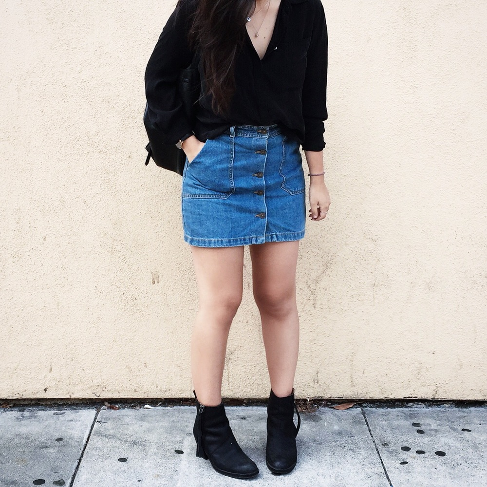 ZARA    denim skirt    / ACNE STUDIOS    Pistol booties    / J.CREW    silk pocket   blouse