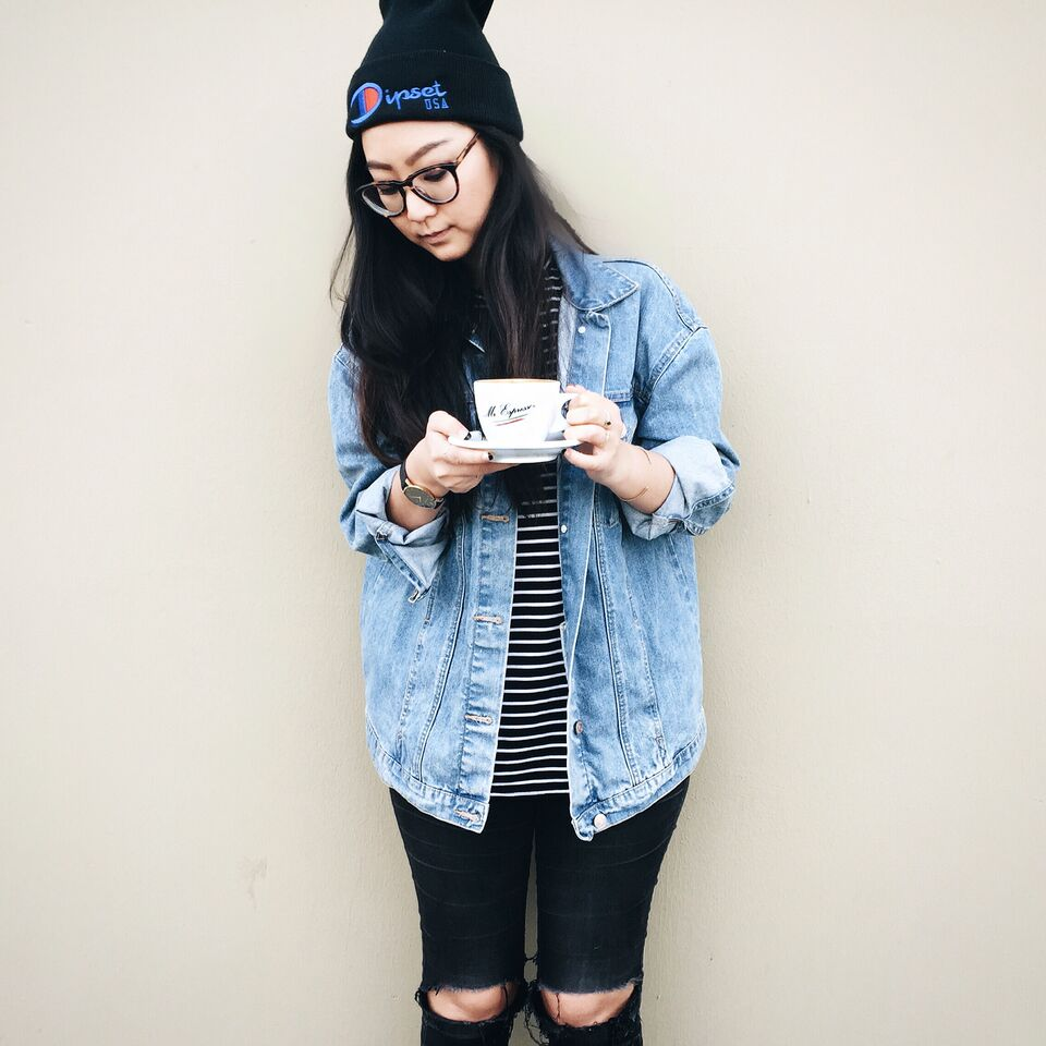 DIPSET beanie / WARBY PARKER Marcel glasses / THE FIFTH LABEL striped tank / ZARA denim jacket / GAP ripped jeans