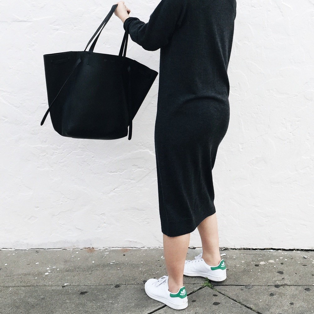 ASOS WHITE   wool dress   / ADIDAS   Stan Smith sneakers   / CELINE  Phantom cabas tote