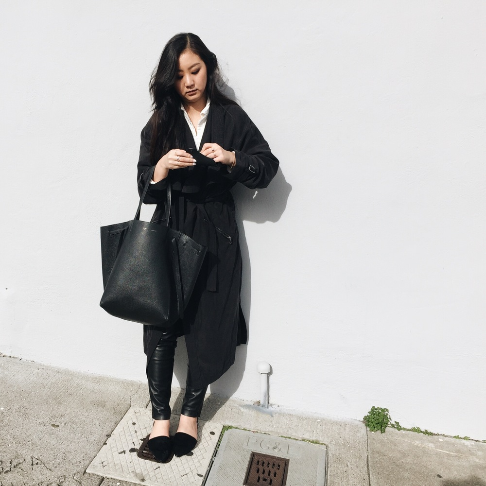 ZARA  trench coat  / H&M  leather leggings  / FREE PEOPLE  shirt  / ZARA  flats  / CELINE  tote