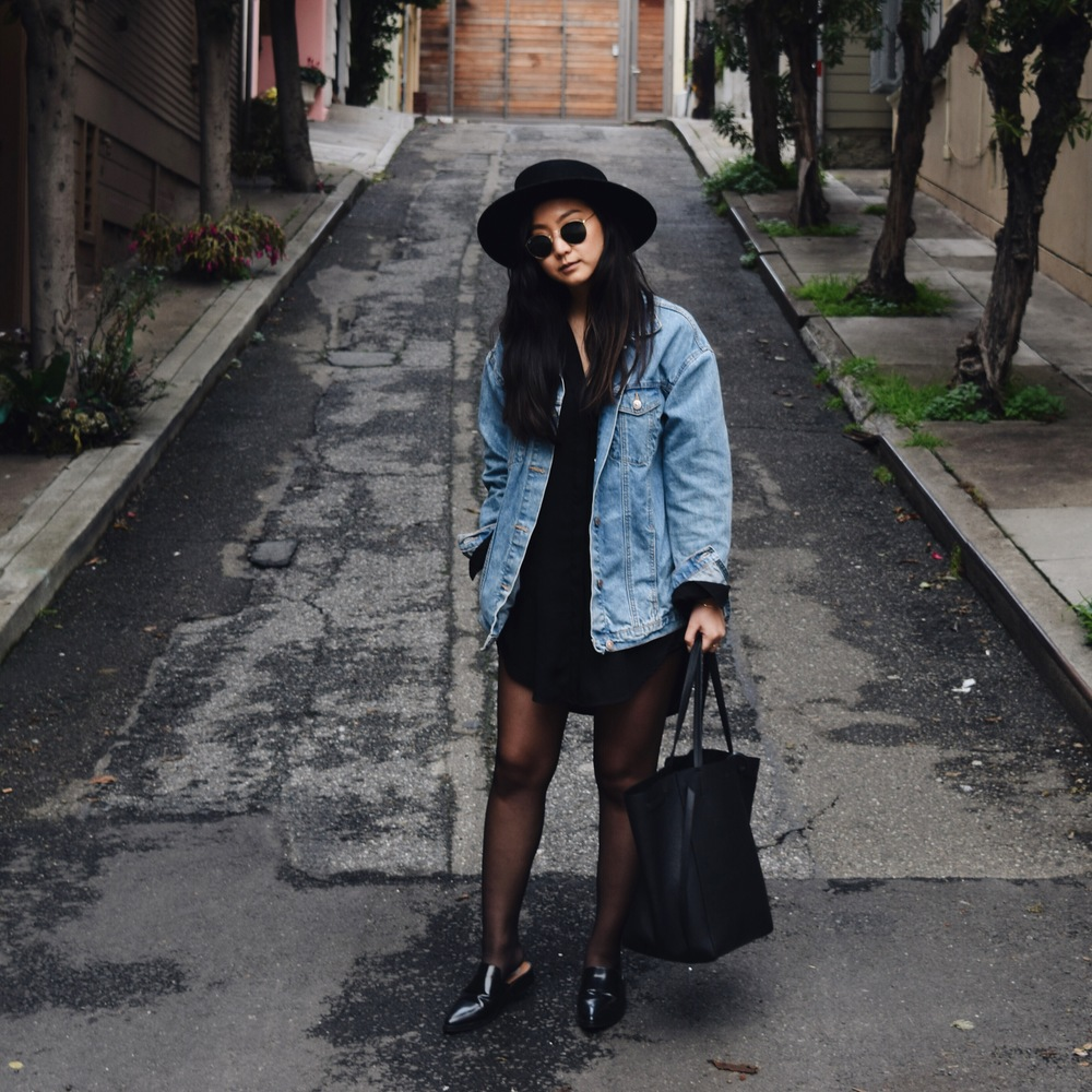 JANESSA LEONE   Gabrielle hat     / ZARA  denim jacket  / MANGO   shoes   / CELINE   tote