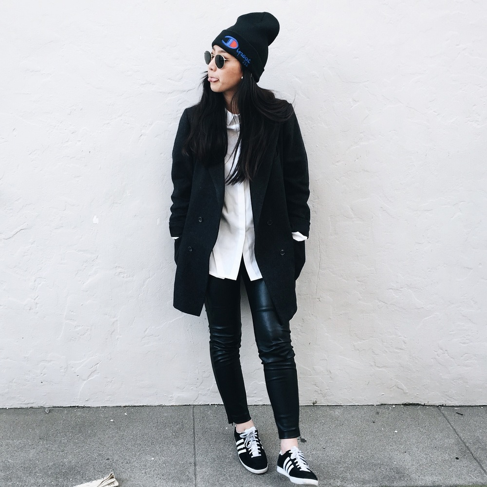 DIPSET beanie / PROJECT WHITE ELEPHANT Riley shirt / H&M faux leather leggings / bespoke boyfriend blazer / ADIDAS Gazelle sneakers
