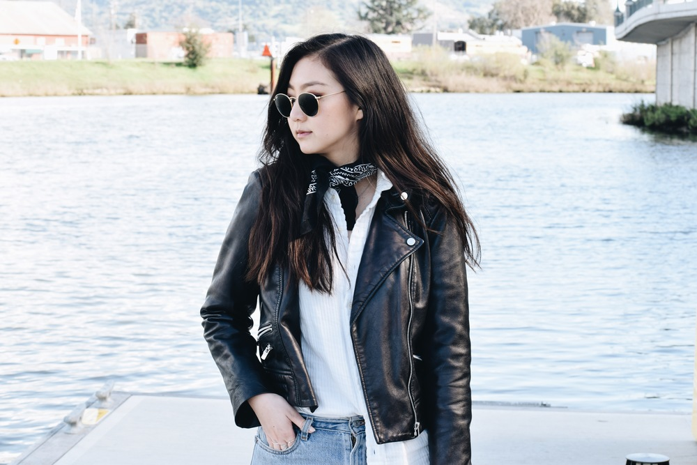 MANGO leather jacket (similar here) / FREE PEOPLE shirt / URBAN OUTFITTERS bandana