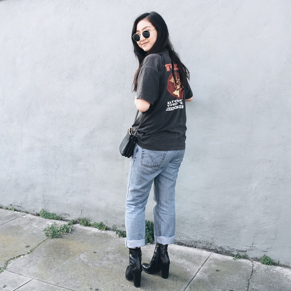 ASOS belt / LEVI'S jeans / vintage tee via Painted Bird / ZARA ankle boots / CELINE trio bag