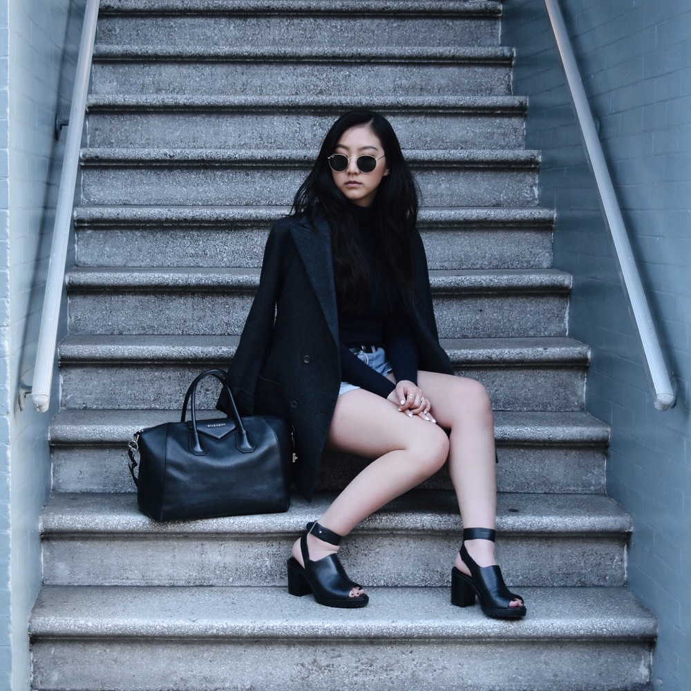 CUSTOM-MADE  boyfriend blazer  / FREE PEOPLE   mock neck tank   / REFORMATION   shorts   / ZARA  heels  / GIVENCHY   Antigona bag
