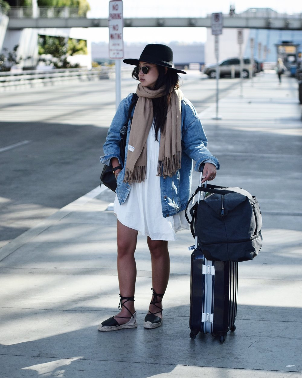 ARITZIA dress / ZARA denim jacket / SOLUDOS sandals / BRIXTON hat
