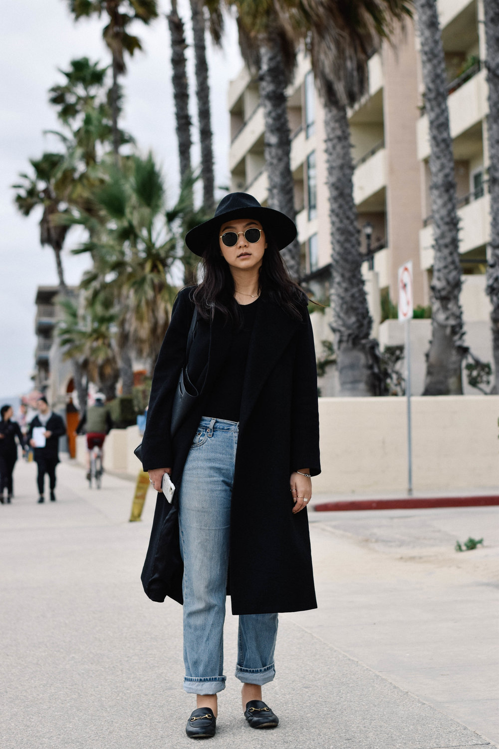 BRIXTON   hat     / LEVIS   jeans     / GUCCI   loafers   /  custom-made maxi coat