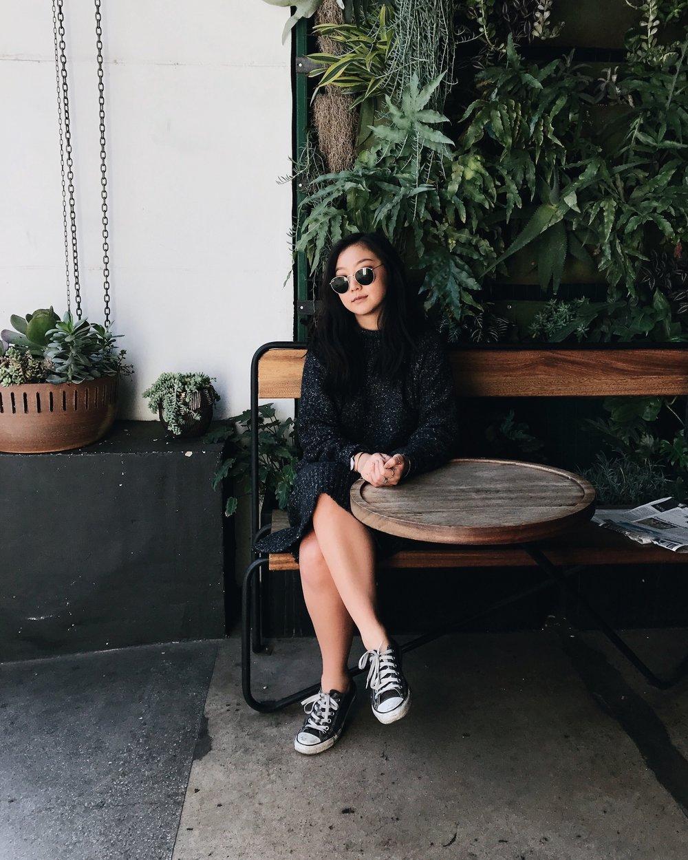 H&M knit turtleneck dress/CONVERSE sneakers