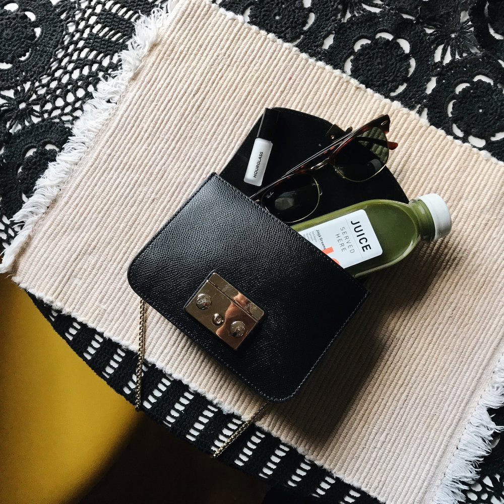 JUICE SERVED HERE  green juice  / HOURGLASS   primer     / FURLA   bag