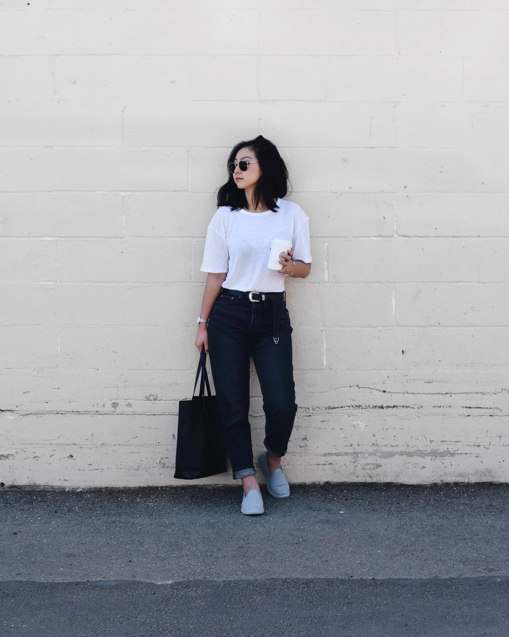 LEVI'S   jeans   / ARITZIA tee / YSL   tote   / DANIEL WELLINGTON   petite watch   / ALLBIRDS   wool loungers