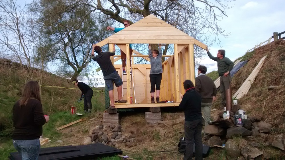 All hands on desk to get the roof trusses on