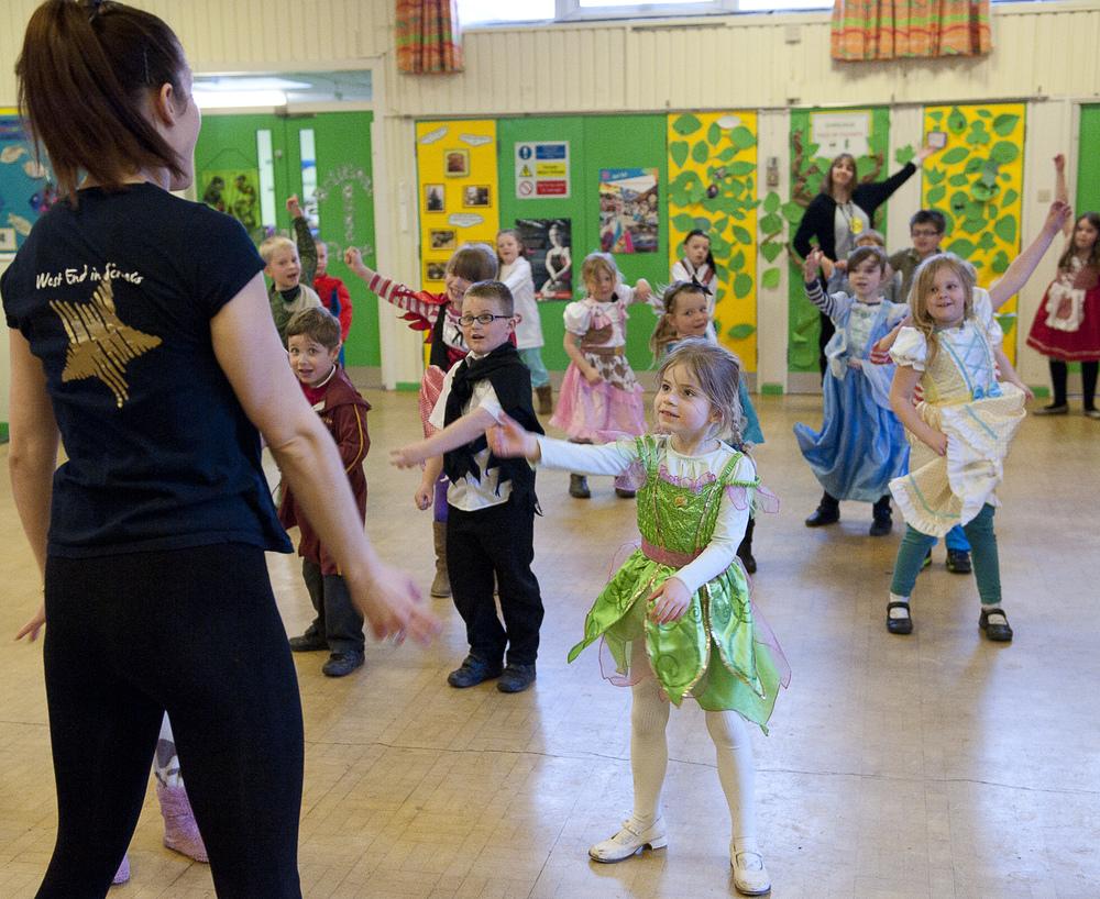 KS1 in costume on World Book Day. Workshops are designed for each of EYFS, KS1 and KS2.