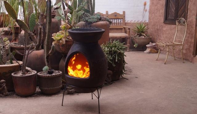 BBQ chimenea in desert brown color