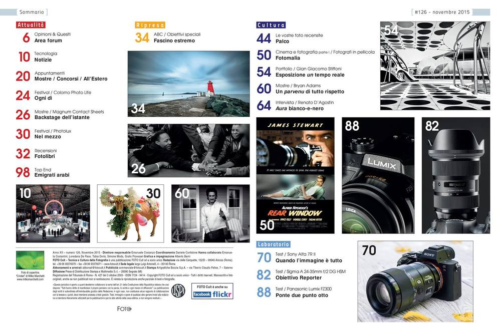 "The index of the magazine ""Foto Cult"" Issue of November."