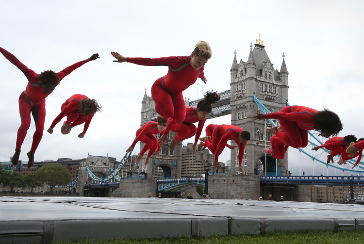 STREB performs in front of London's Tower Bridge. Photo by Peter Macdiarmid/Getty