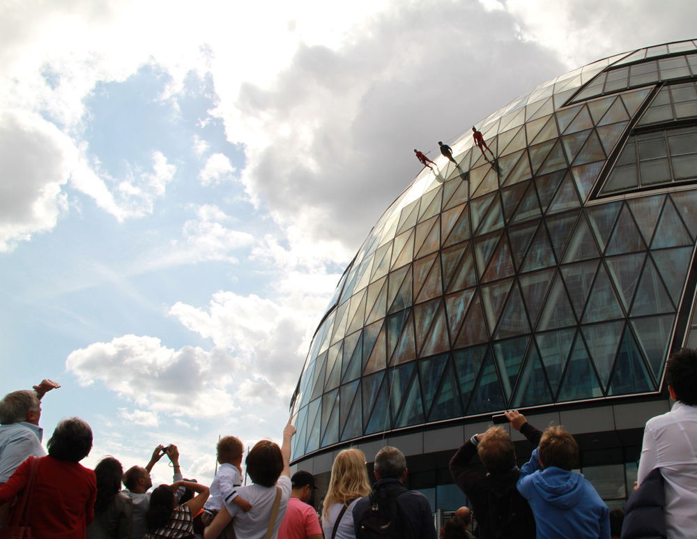 "STREB performing ""Sky Walk,"" as part of the London 2012 Cultural Olympiad."