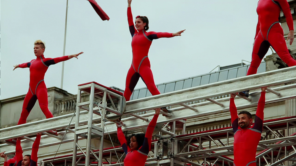 "STREB performing ""Ascension"" during ""One Extraordinary Day"" in London 2012."