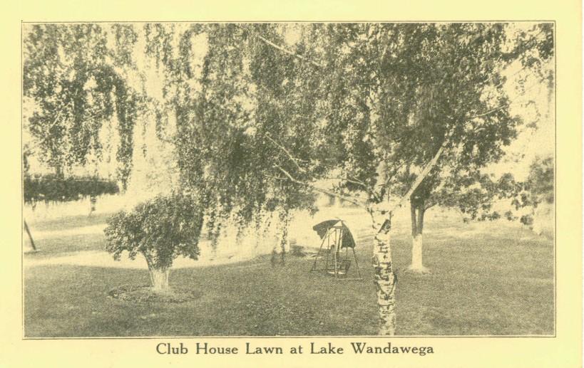 Wandawega Club House lawn as seen in a vintage postcard