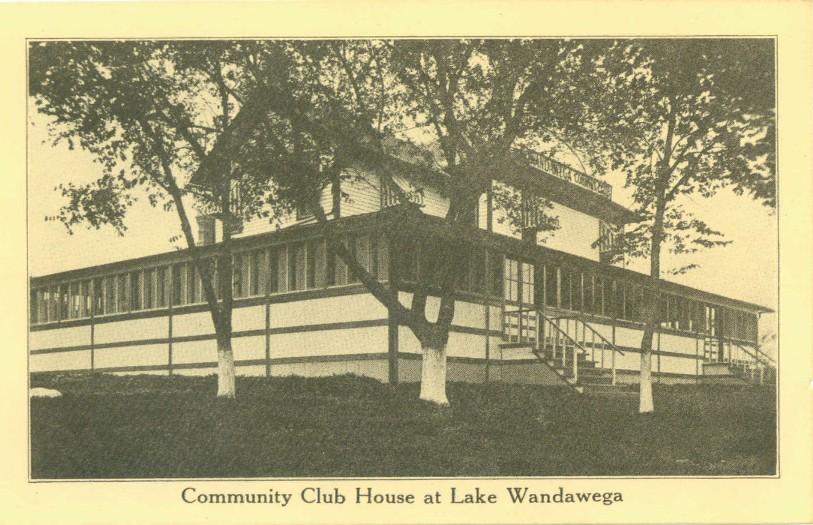 Wandawega Country Club House as seen on vintage postcard
