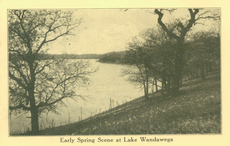 Early Spring scene of Lake Wandawega from vintage postcard