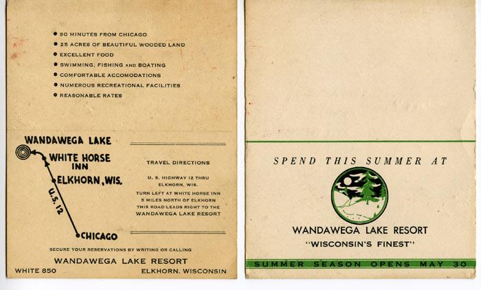 Business Card from Wandawega Lake Resort