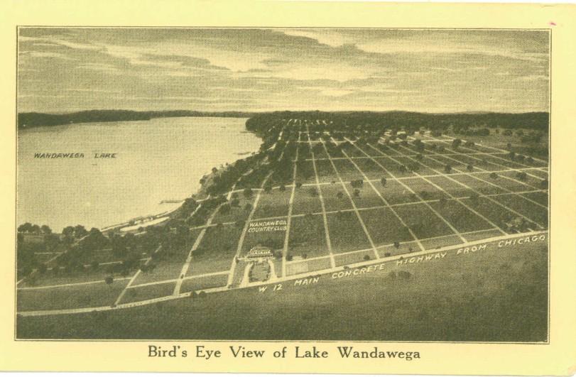Bird's Eye View of Lake Wandawega from vintage postcard