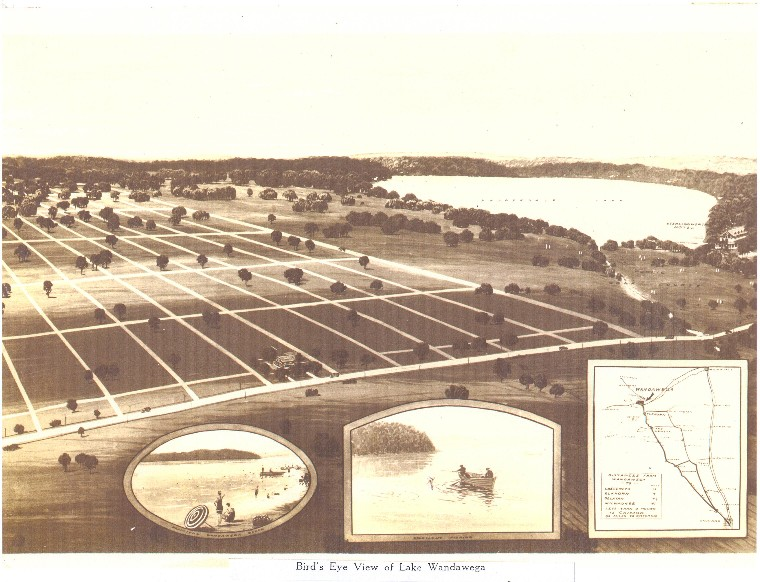 Lake Wandawega area on left, Lauderdale Lakes on the right, from original sales materials in the 1920s