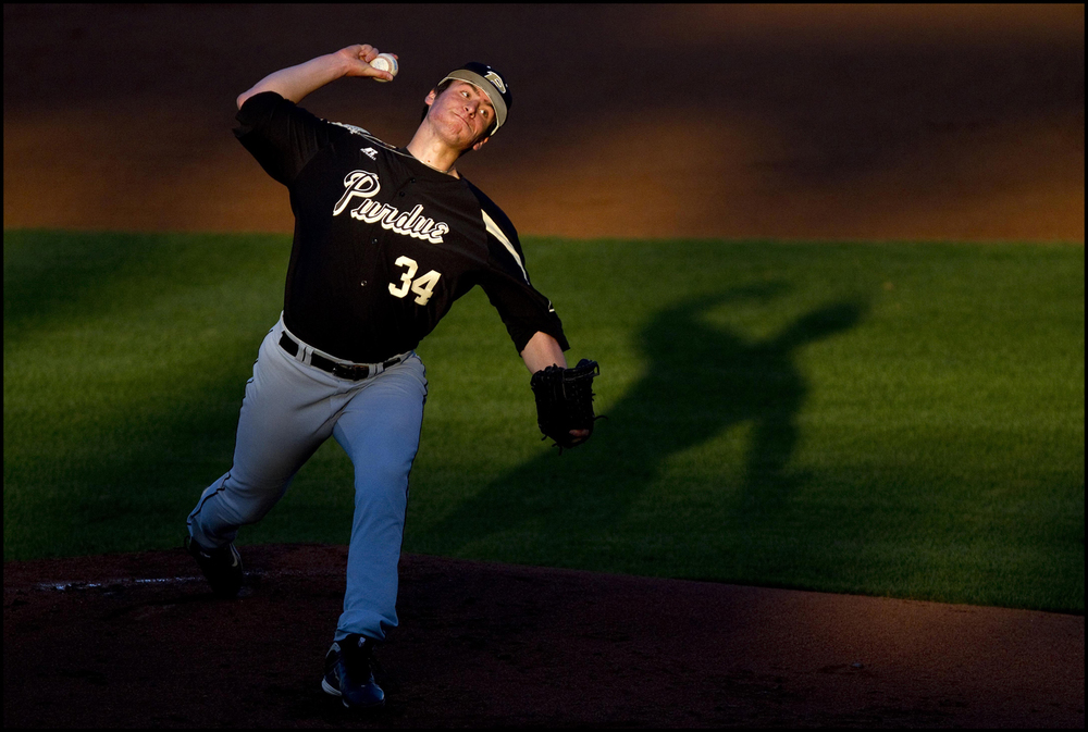 Purdue starting pitcher Connor Podkul pitches against the Missouri State Bears at Hammons Field.
