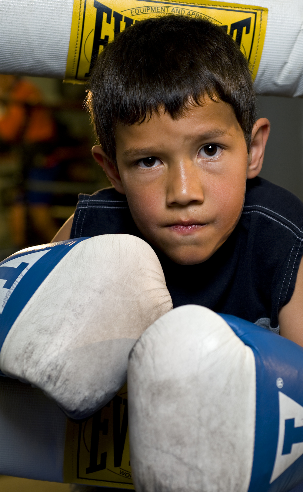 Julian Janqcua, 8, of La Habra Calif. comes to practice boxing at La Habra Boxing Club with his brothers several times a week. The La Habra Boxing Club was started as a crime diversion program in 1981 and continues to allow youths to constructively channel their energy into sport.