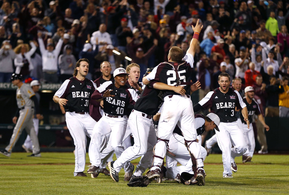 The Missouri State Bears celebrate after beating the Iowa Hawkeyes in the Championship game during the NCAA Division I Baseball Regional.