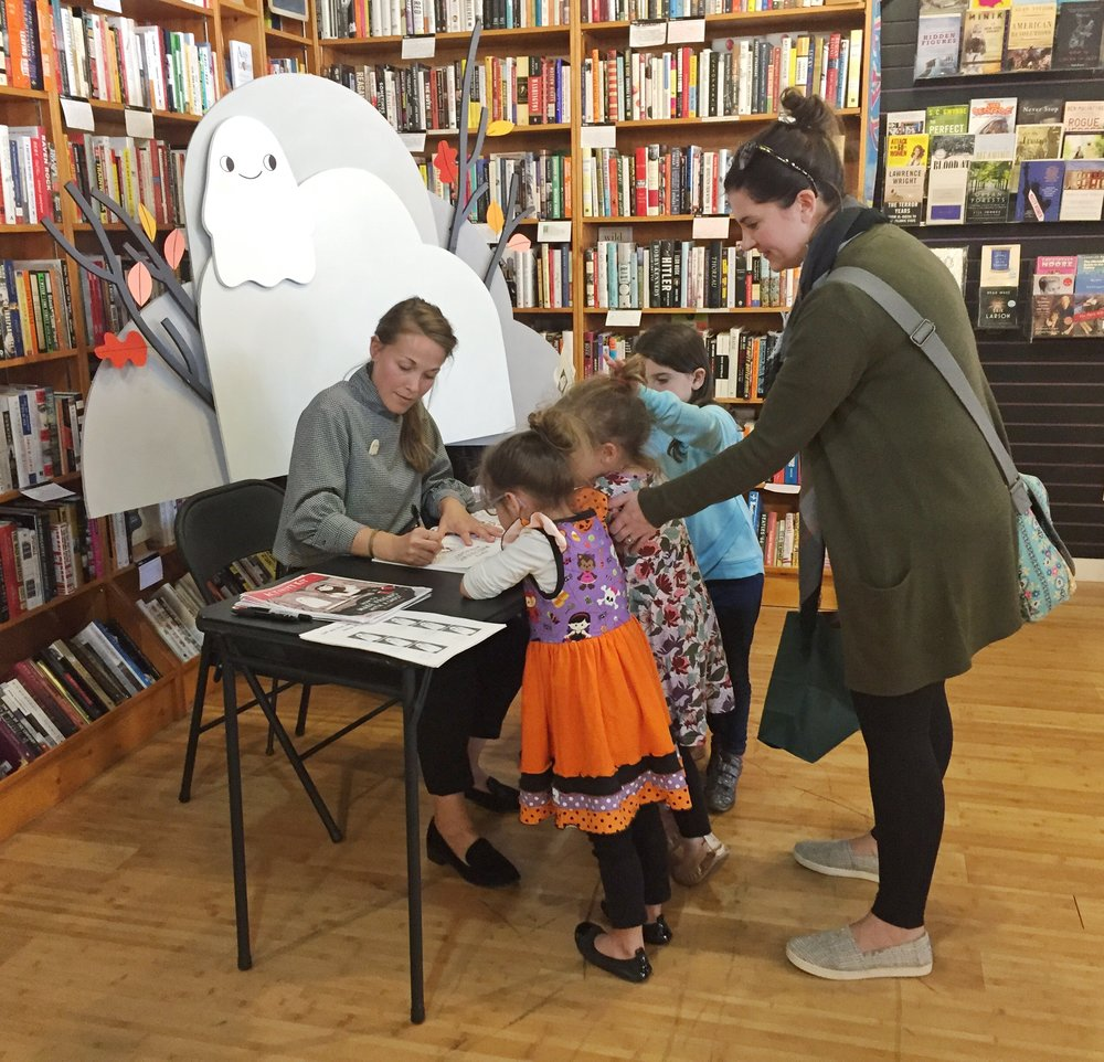 Three little ghost fans get their book signed! (look at that dress!)