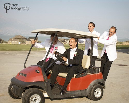 Sometimes you've got to just relax and have fun. #golfing  #letsgogolfing. #golfcart #wedding #golfcartsforthewin #groomsmen #relaxing #destress #destressing #reception #downtime #fun #sillygroomsmen #weddingparty #frameasmilecom #golf #carterphotography #weddingday