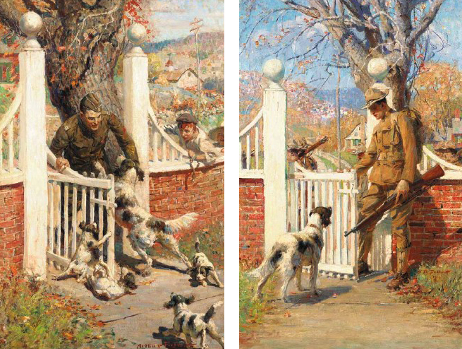 (Left) The Surprise Party and (Right) Not This Trip, Old Pal both by Arthur Davenport Fuller