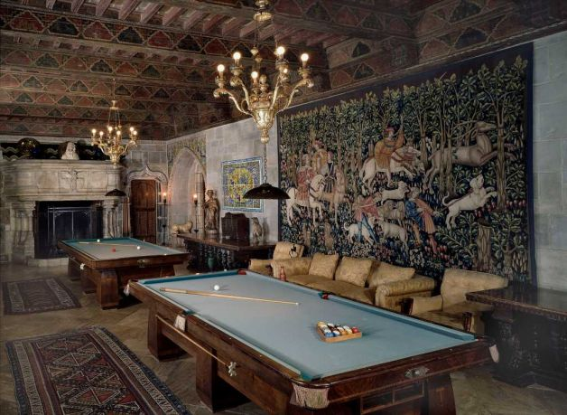 The billiards room at Hearst Castle.