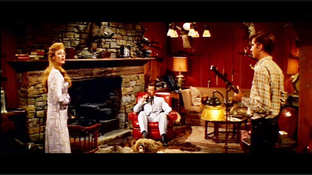 The sporting room of Captain Wade Hunnicutt (Robert Mitchum) from MGM's Home From The Hill.