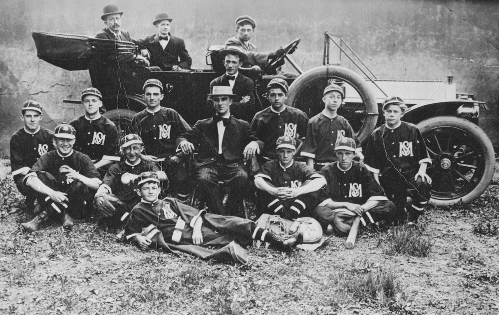 This wonderful original 1903 photograph of the Lehighton Pennsylvania Baseball team with roadster can be yours for $99.