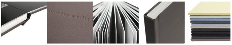 Packshots van de Luxe Albums - mogelijk met op de voorzijde de voornamen in reliëfdruk