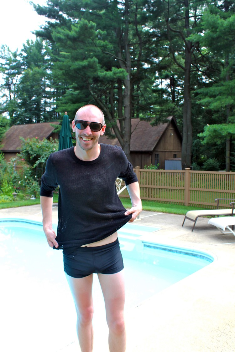 One last dip before the plane ride back!  mesh sweatshirt: D&G, bathing suit: Diesel, sunglasses: Burberry