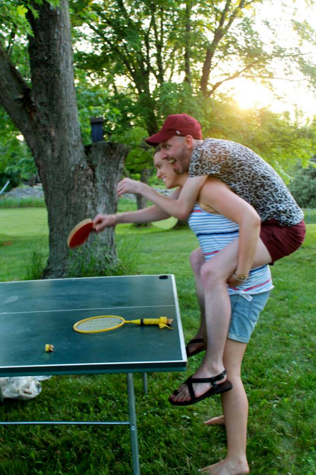 ping pong in the backyard